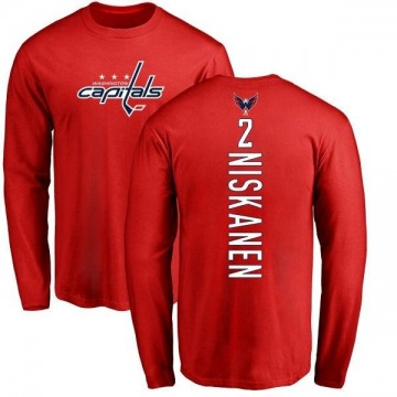 Men's Matt Niskanen Washington Capitals Backer Long Sleeve T-Shirt - Red