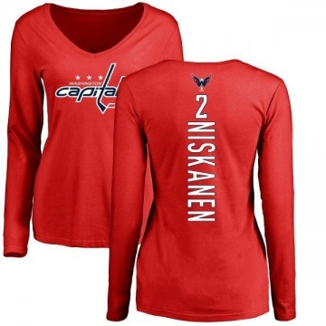 Women's Matt Niskanen Washington Capitals Backer Long Sleeve T-Shirt - Red